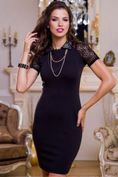 Маленькое черное платье с кружевными рукавами Angela Ricci со скидкой